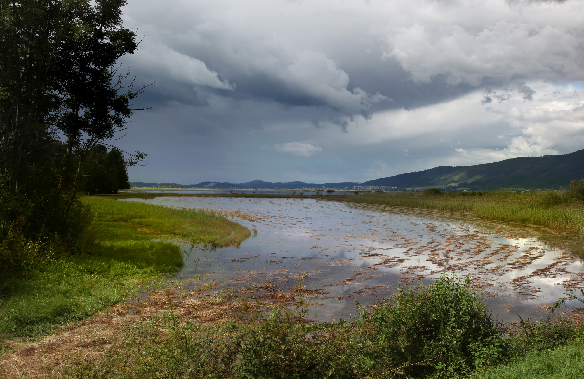 Kjer se je še pred nekaj dnevi kosilo, je zdaj jezero ... Foto Tine Schein